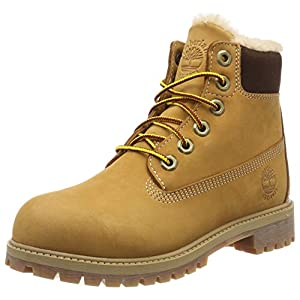 timberland unisex's 6 inch premium waterproof shearling lined (youth) lace-up boots