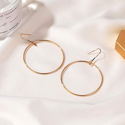 Janly Clearance Sale Women Earrings , Occident Geometric Earrings Big Circle Alloy Ladies Earrings , Valentine's Day Birthday Jewelry Gifts for Ladies Girls (Gold)