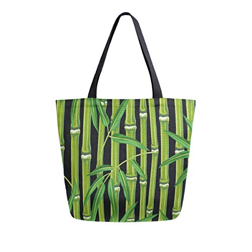 Bolsa de lona de bambú con diseño de plantas y hojas con asa superior, bolsos grandes, reutilizables, bolsas de hombro de algodón para mujeres, viajes, trabajo, compras, comestibles