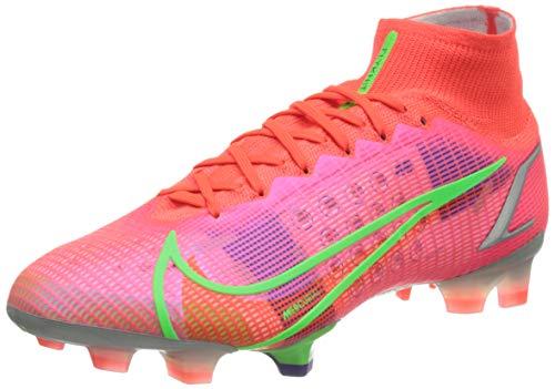 Nike Superfly 8 Elite FG, Scarpe da Calcio Unisex-Adulto, BRT Crimson/Mtlc Silver-Indigo Burst-White-Rage Green, 45 EU