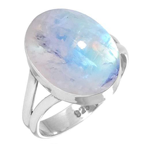 Jeweloporium Natürlich Regenbogen Mondstein Frau Schmuck 925 Sterling Silber Ring Größe 49 (15.6) (99029_RB_R5)