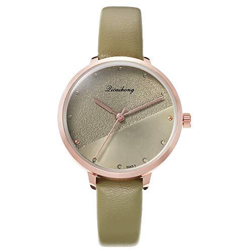 JZDH Frauen-Uhren Die Neue Beiläufige Niet Skala Damenuhr Persönlichkeit Yin Und Yang Gesicht Und Weisegurtuhr Dame Armbanduhr (Color : Green)