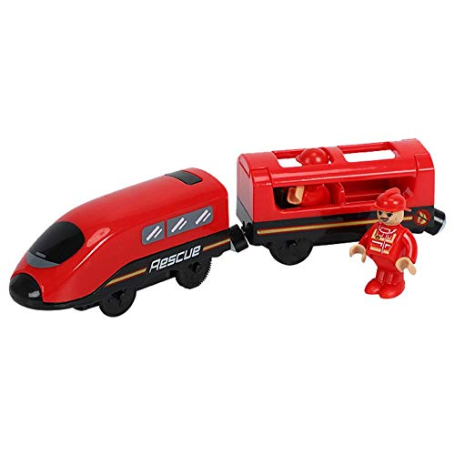 VERLOCO Tren Eléctrico Compatible con Riel De Madera, Tren De Juguete Clásico para Niños, con Pilas AAA (no Incluidas), Adecuado Niños, Juguetes Divertidos