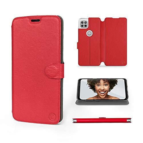 Mobiwear   Echt Lederhülle   Kompatibel mit Motorola Moto G 5G, Made in EU handyhülle, Slim Leather Hülle, Premium Flip Schutzhülle, Transparent TPU Silicon, Book Style, Tasche - Rotes Leder