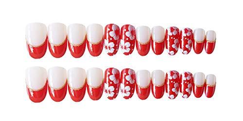 24 PCS Set Red Sakura Cherry Blossom Printing Press On Nails Christmas Red False Nails Fake Nails with Glue and Adhesive Tab 3