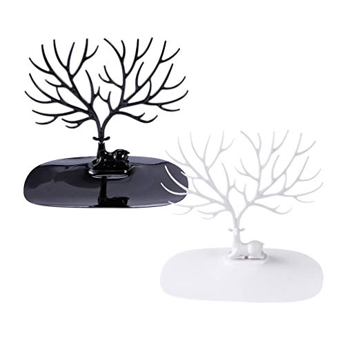 Holibanna 2pcs Jewelry Tree Stand Christmas Earring Holder Reindeer Antler Tree Jewelry Organizer Rack Tower Gifts for Necklaces Earrings Bracelets Xmas Table Decorations