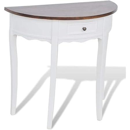 marrone tavolino da ingresso bianco Semicircolare Mobile da ingresso mobile da ingresso 80 x 40 x 78 cm stile rustico con cassetto decorazione per la casa tavolino da ingresso