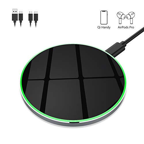 yootech Aluminium 15W kabelloses Ladegerät,Fast Wireless Charger,Qi Ladestation für iPhone 11/11 Pro/11 Pro Max/XS MAX/XR/XS/X/8/8 Plus,Galaxy S20/Note 10/S10/S9/S8/Note 9,AirPods(Mit 2 USB C Kabels)