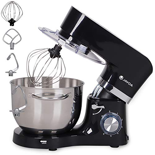 Stand Mixer,6.5-QT 6-Speed Kitchen Mixer Electric Cake Mixer with Stainless Steel Bowl,Dough Hook, Whisk & Beater,Tilt-Head Dough Mixer for Baking (Black)