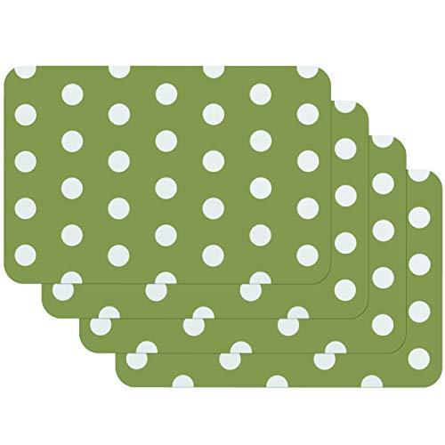 Venilia Green Motif Stampate Dots Verde, Tavola, Tovaglietta per Sala da Pranzo, a Prova di Cibo, 4...