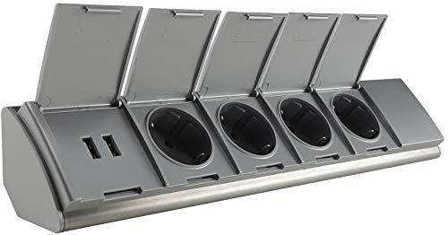 ChiliTec Edelstahl Steckdosenblock mit 4x Steckdosen 2x USB I Erhöhter Berührungsschutz, Schutzdeckel Innen vorverdrahtet Silber Grau