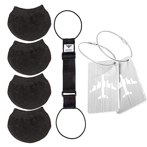 TABITORA(タビトラ) スーツケース用 車輪ソックス キャスター カバー 汚れ防止 キャリーバッグ用 転がり防止 バッグとめるベルト 旅行用品 スーツケースベルト バッグ用ネームタグ 3セット