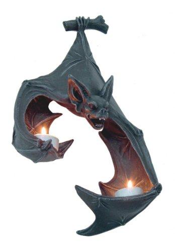 Unbekannt 2er Wand Teelicht Vampir Fledermaus aus Kunststein