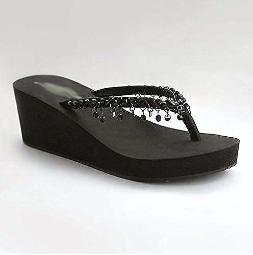 SCLOTHS Tongs Femme Chaussures Pente antidérapante Fond épais Plage Talon Haut