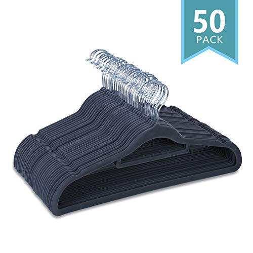 SMART ONYE Pack of 50 Non-Slips Velvet Hangers-Sturdy and Durable-Heavy Duty-Space Saving Velvet Suit Hangers with Tie Bar-360 Degree Swivel Hook-Notched Design for Tank Tops,Underwear and Dress-Gray