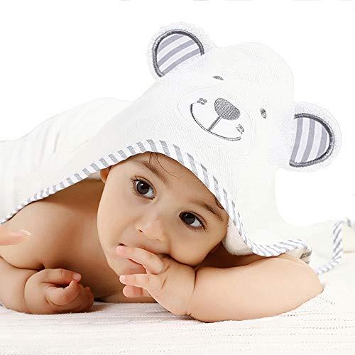 Pejoye Bio-Bambus Kapuzenbadetuch für Babys Baby Panda Kapuzenhandtücher für Baby Tier Kapuzenhandtuch aus Natürlicher Baumwolle Besonders Strapazierfähig Extra Weich und Dick (Eisbär)