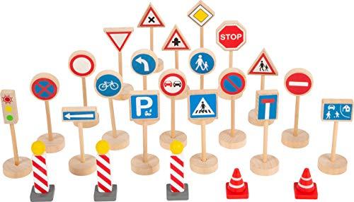 Small Foot 11736 Verkehrsschilder Holz, Zubehör-Set für Holzfahrzeuge und Eisenbahnen, für Kinder ab 3 Jahren Toys