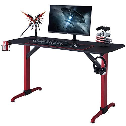 CO-Z Mesa Gaming Ergonómica 120x63x77CM para Casa o Oficina Escritorio de Gaming con Portavasos y Alfombrilla de Juego Escritorio de Ordenador con Gancho para Auriculares (Rojo)