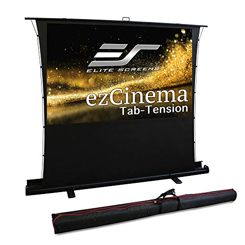 Elite Screens ezCinema Tab Tension, Floor Pull Up with Scissor Backed Projector Screen, 92-inch 16:9, Portable Home Theater Office Classroom Projection Screen with Carrying Bag, FT92XWH