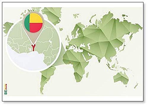 Kühlschrankmagnet Weltkarte mit Benin & Flagge