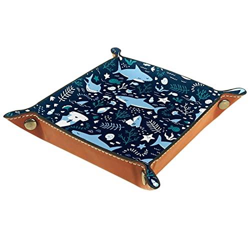 Bandeja de dados, plegable de cuero para dados, para juegos de dados, D&D y otros juegos de mesa, Ocean Shark Blue