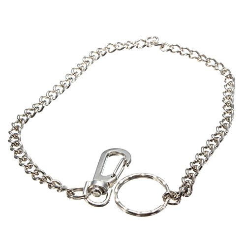38cm Long Hipster Strong Metal Curb link chain Ring Keyring Keychain Key Chain Silver Key Wallet Belt Ring Clip Key Fob Keyfob