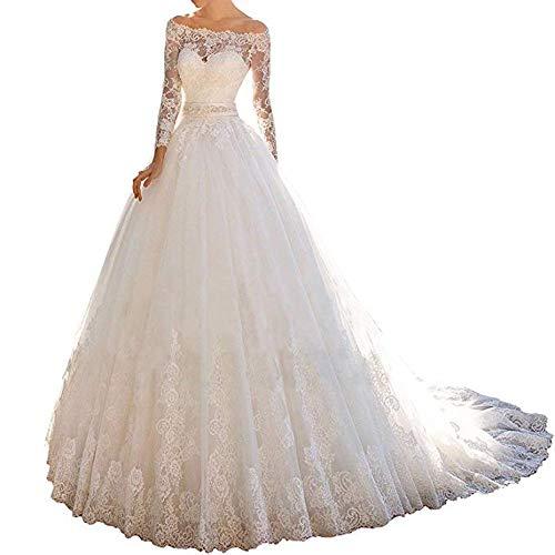 Cloverbridal prinses kant off schouder trouwjurk voor bruid 2018 lange mouwen bal jurk bruidsjurk