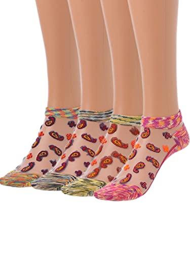 IYOU Weinlese Glas Seide Socken Rot Dünn Boot Socken Sommer Transparent Durchsichtig Mesh-Socken Knöchel Lässige Socken für Frauen Mädchen Party Reisen (4 Paare)