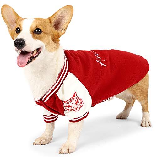 Dog Jackets for Small Dogs, Baseball Small Dog Vest, Dog Fleece Jacket for Medium Dogs, Dog Winter Jacket Sweater Vest, Dog Winter Clothes Dog Coat Cold Jacket for Dogs Corgi Costume Black Red