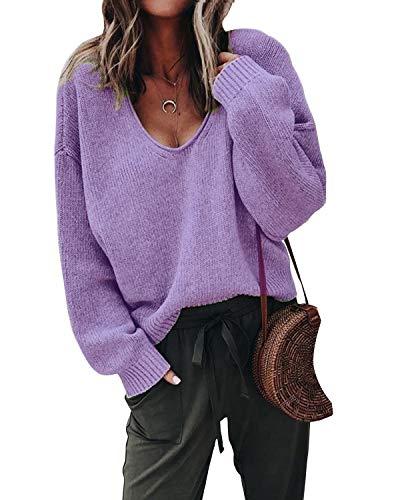 Lantch Damen Pullover Sweater V-Ausschnitt Sweatshirt Pulli Langarm Casual Oberteile Jumper(lila,m)
