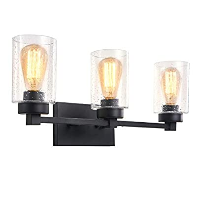 Bathroom Sconces Wall Mount Light Lamp with Clear Glass Shade Vanity Hallway Bedroom Modern Industrial Style Fixtures Wall Lights 3-Light Black No Bulbs