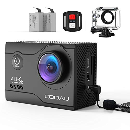 COOAU 4K 20MP Wi-Fi Action Camera Webcam PC Camera with External Microphone Remote Control EIS Underwater 40M Waterproof, for Video Conferencing, Online Work, Home Office, Streaming