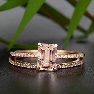2 Carat Emerald Cut Morganite and Diamond Wedding Egagement Ring Set for Women In Rose Gold