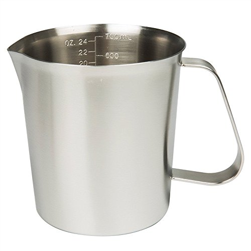 Measuring Cup, 304 Stainless Steel Measuring Cups, Frothing Pitcher, Milk Frothing Pitcher Milk Frother Cup with Marking with Handle for Espresso Machines, Latte Art (24OZ/ 0.7Liter)