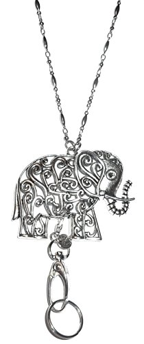 Elephant Fashion Lanyard for Women, Stainless Steel Chain, 34 inches, for Badge ID, Keys, Name Tag, Cruise (Silver Elephant - Non Breakaway (Stronger))