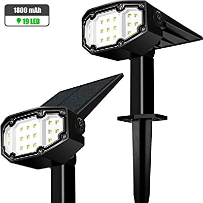 Otdair Solar Landscape Spotlights, 19 LED Solar Powered Lights Outdoor IP65 Pathway Lights Wireless, Bright White, 2 in 1 Wall Lights Yard Lights for Garden Driveway Porch Walkway Pool Patio 2Pcs