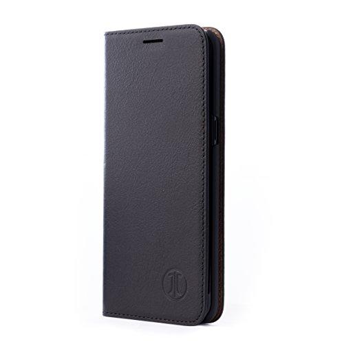 JT Berlin BookHülle Tegel Echtleder Hülle Samsung Galaxy A72 Lederhülle [Premium Leder Klapphülle, NFC kompatibel, Standfunktion, EC-Kartenfächer, Magnetverschluss] schwarz