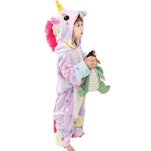 Girls Kids Hooded 3D Unicorn Onesie Animal Dinosaur Crocodile Reindeer Onesie Pyjamas Nightwear Sleepsuit Dress Up Fleece Toddler to Teenage Small Adult, (Light Purple, 3-4 Years)
