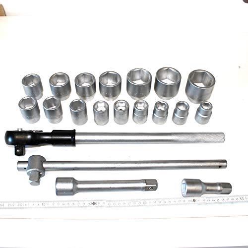 20 teiliger Steckschlüsselkasten , LKW Steckschlüsselsatz Antrieb 3/4 zoll 20 mm. Metrische Schlüsselweiten SW 19 bis 50 mm aus Chrom-Vanadium-Stahl. Nusskasten, Knarrenkasten, Ratsche, Nüsse, Verlängerung, CV-Stahl.