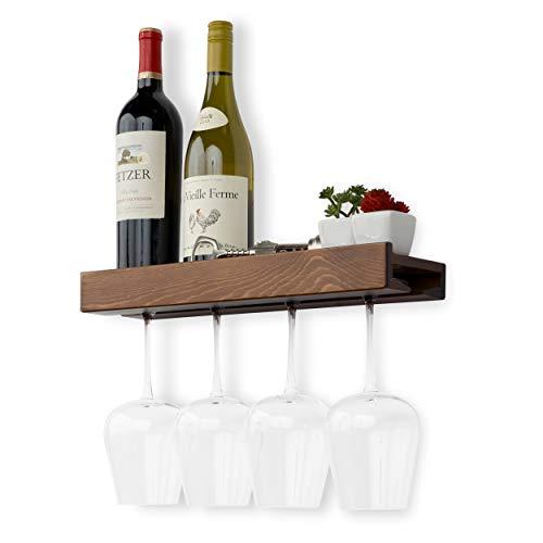 Rustikaler Wandhalter für Weinflaschen und Weingläser, Walnussholz