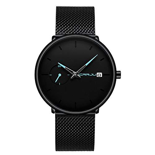 Infinito U- Relojes Hombre de Malla Ultra Fino Negro Relojes de Pulsera de Moda Minimalista Casual Reloj de Cuarzo Impermeable