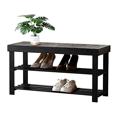Bonzy Home Sturdy Shoe Rack Bench with Storage Shelf, 3-Tier Bamboo Shoe Organizer or Entryway Bench - Ideal for Shoe Cubby, Entry Bench, Bathroom Bench, Hallway or Living Room Organizer (Black)