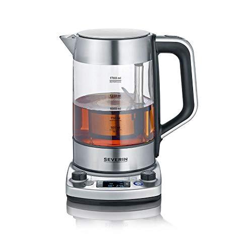 """SEVERIN Tea Maker """"Professional"""" mit Auto-Liftfunktion, Glaswasserkocher für bis zu 1,7 L, elektrischer Teekocher mit Temperatureinstellung, gebürstet/schwarz, WK 3422"""