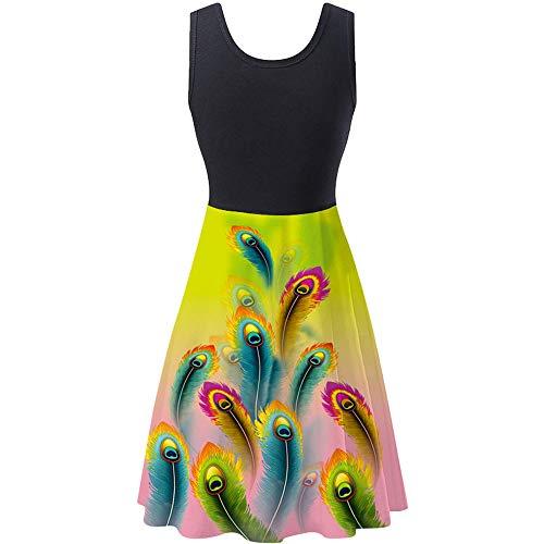 yanghuakeshangmaoyouxiangong Neues äRmelloses Kleid Mit Elastischem Digitaldruck FüR Frauen Mit Rundem Halsausschnitt