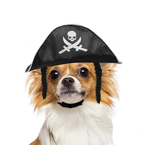 Balacoo Hund Pirat Hut-Haustier Pirat Kostüm Hund Katze Kopfbedeckungen für kleine Hunde und Katzen perfekt für Halloween Weihnachten und Mottoparty