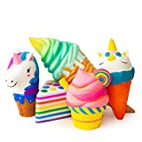 SQUISHIES Value Packs in Great Gift Worthy Packaging - Jumbo Slow Rising Kawaii Squishies Plus Squishy Toy for Kids Comes in Mix, Dessert (Cake & Ice Cream) 5PCS, Random