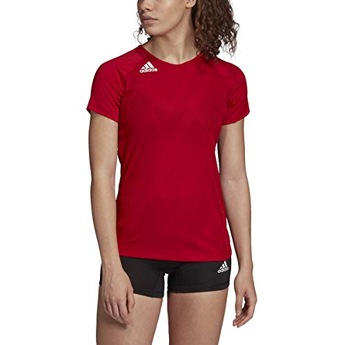 Adidas Quickset Jersey para Mujer, Playera Quickset, Blanco, Rojo, XX-Small