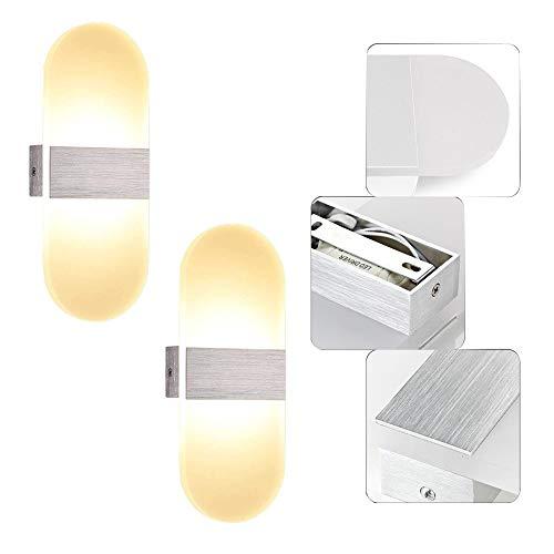 LeMeiZhiJia Spiegelleuchte 12W Oval Badlampe Wandleuchte Aluminium Acryl Wandbeleuchtung Nachtlicht für Wohnzimmer Schlafzimmer Lichter Lampen Korridor(2 Stück Warmweiß)