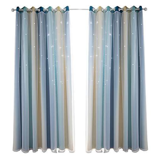 Nyescasa Cortinas de doble capa con estrellas para niños, niñas, dormitorio, coloridas, para habitación de los niños, cortinas opacas, doble hueco, 1 panel (azul 53 x 83 cm)