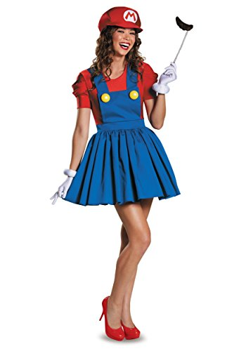 Disguise womens Mario Skirt Version adult sized costumes, Red/Blue, Teen X-Large 14-16 US